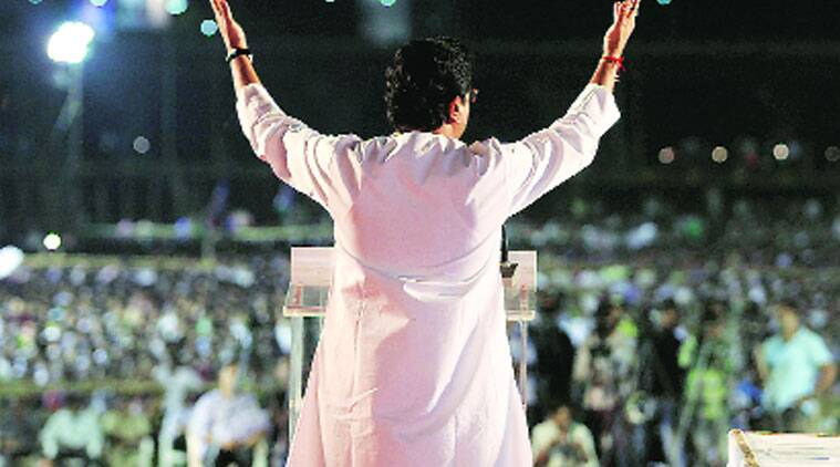 Raj Thackeray addresses a rally in Pune on Friday.(Source: Express uphoto by Arul Horizon)