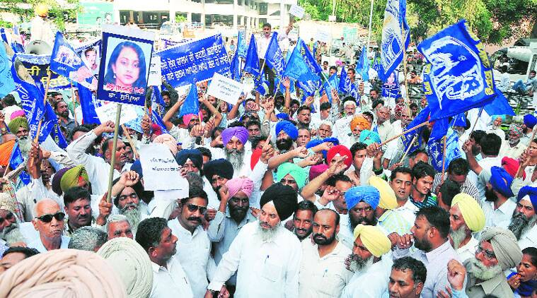 During the BSP rally in Ludhiana on Friday. (Source: Express photo by Gurmeet Singh)
