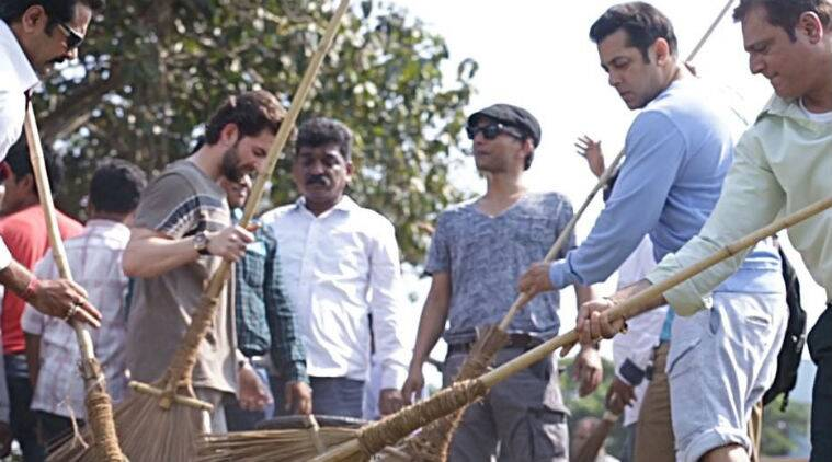 Salman Khan initiated a clean-up drive in Karjat and shared pictures of himself along with his team.