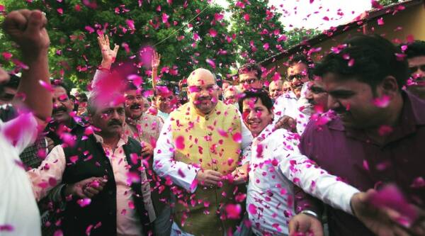 BJP president Amit Shah at the party headquarters in New Delhi after the results on Sunday. Source: Oinam Anand