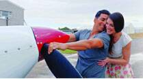 Akshay Kumar romances South African model Michelle hanging on the propeller of the aeroplane