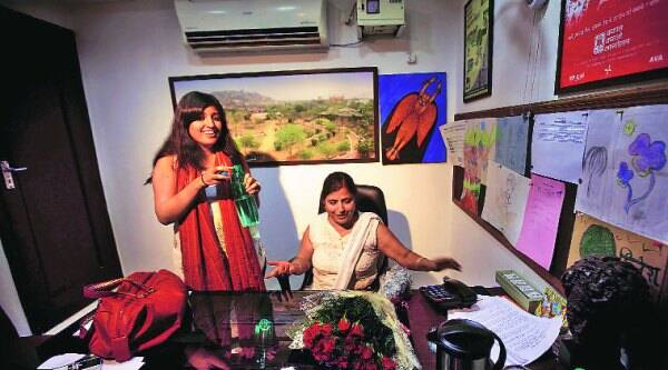 Wife and daughter of Kailash Satyarthi in New Delhi on Friday. ( Source: Express photo by Praveen Khanna )