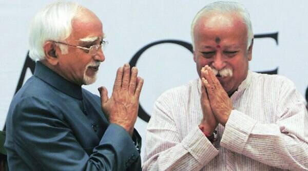 Vice-President Hamid Ansari with RSS chief Mohan Bhagwat at the launch of the international edition of Encyclopedia of Hinduism in New Delhi, Friday. ( Source: Express photo by Amit Mehra )