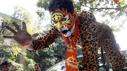 Shiv Sena party workers celebrate their victory in Maharashtra Assembly Polls