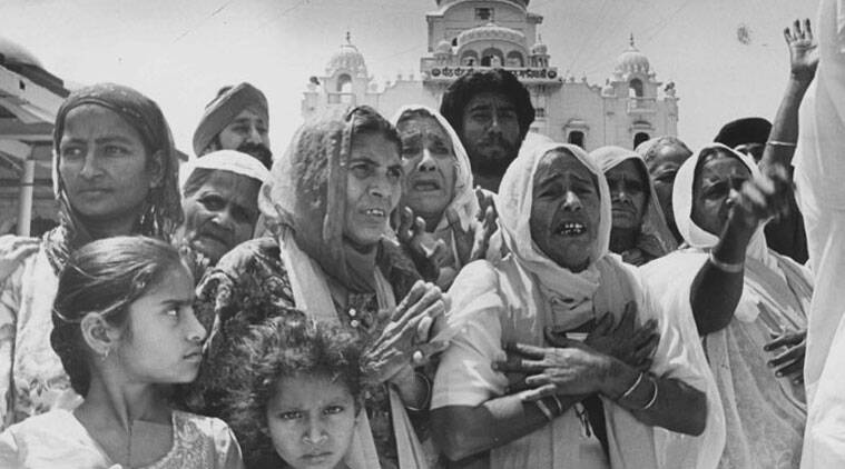 In this File Photo, 1984 riot widows demonstrating against Congress leaders Sajjan Kumar and Jagdish Tytler at Bangala Sahib Gurudwara in New Delhi on November 21, 1996. (Express Archive Photo: Arvind Yadav)