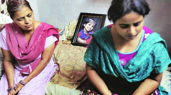 Family members of Jahnvi (right) at their home in Raghubir Nagar in West Delhi. ( Source: Express photo by Ravi kanojia )