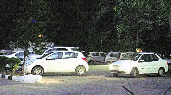 Cars parked in GMSS-18 in Chandigarh on Wednesday. (Source: Express photo by: Sahil Walia)