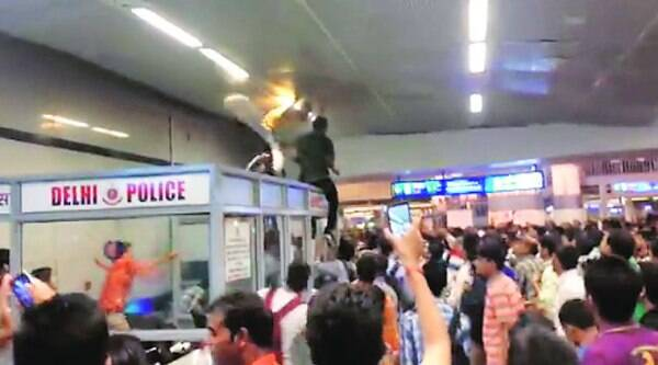 CCTV grabs show how the three boys were cornered by the mob at Rajiv Chowk Metro station on Sunday.