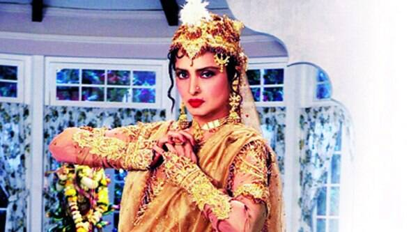 Rekha in the Anarkali  dress that was designed by her