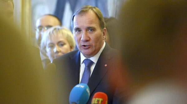 Swedish Prime Minister, Stefan Lofven, attends a press conference at the Swedish parliament 'Riksdagen' in Stockholm, Friday, Oct. 3, 2014. (Source: AP)