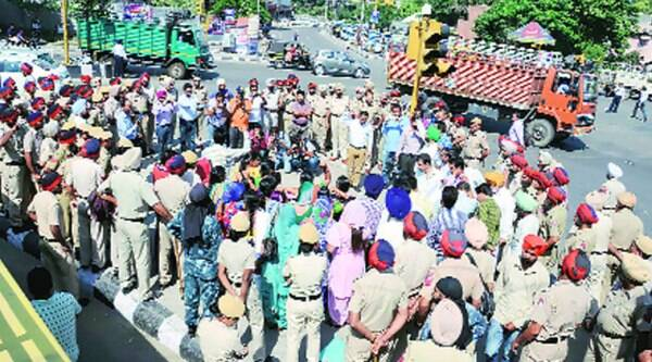 During the protest rally by the TET pass unemployed teachers at Bharat Nagar Chowk in Ludhiana on Sunday.