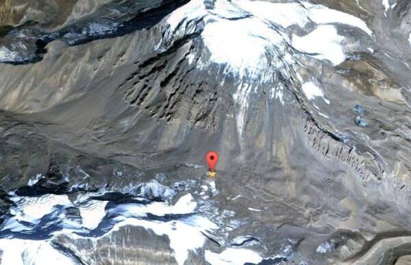 The red marker shows the spot where the avalanche took place. (Source: Google Maps)