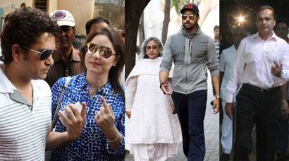 Sachin Tendulkar, Anil Ambani, Abhishek Bachchan cast their vote