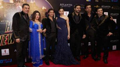 PHOTOS: Shah Rukh, wife Gauri, Deepika, Abhishek deck up for Dubai premiere of 'Happy New Year'
