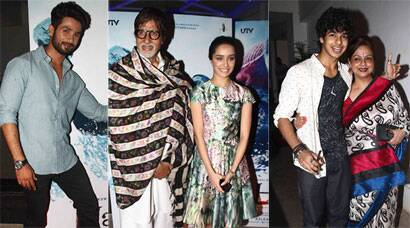 Haider screening: Shahid Kapoor's special guests are mom Neelima and Amitabh Bachchan