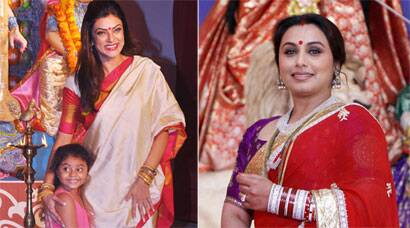 Rani Mukerji, Sushmita Sen and her daughter Alisah at Durga Puja celebrations