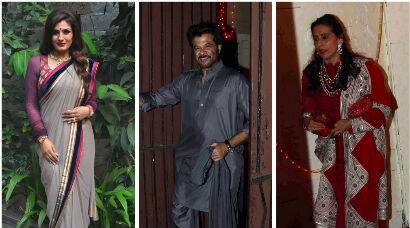 Raveena Tandon celebrates early Diwali; Anil Kapoor, wife Sunita attend a Diwali party