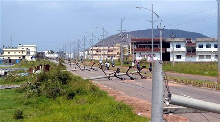 Broken Electric poles after the devastating Hudhud Cyclone hit Vizag on Wednesday. (Source: PTI)
