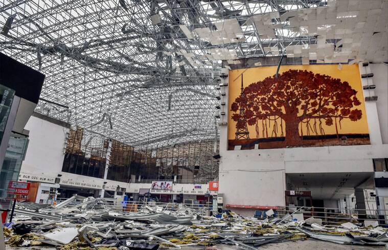 A view of the damaged airport after Hudhud Cyclone in Vishakapatnam. (Source: PTI)