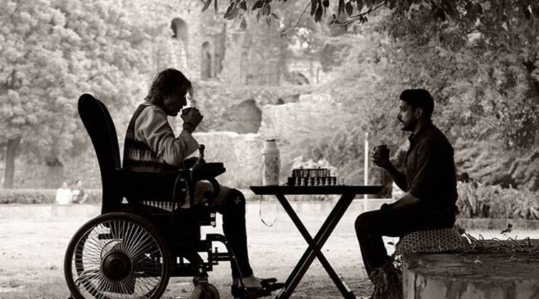 Amitabh Bachchan and Farhan Akhtar during the shooting a scene for their upcoming film 'Wazir'.