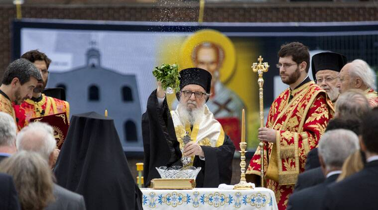 Hundreds of members of New York's Greek Orthodox community attended the blessing ceremony for the new church.