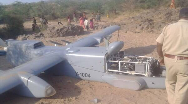 According to Bhuj Superintendent of Police D N Patel, there was no casualty reported due to the crash in Mankunva village near Bhuj town. (Source: Express photo by Javed Raja)
