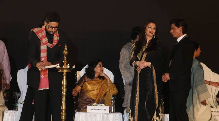 Draped in uttariyas (stoles) gifted by Mamata Banerjee, the Bachchan clan comprising Amitabh, his wife and veteran actress Jaya, son and actor Abhishek and actress-daughter-in-law Aishwarya Rai, seated on the dais, set the evening on fire with their oomph, charisma and reiteration of their links to Bengal. (Source: Express Photo by Partha Paul)