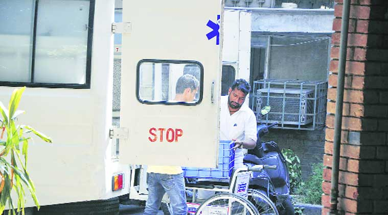 An ambulance is used to carry food at Government Civil Block Hospital in Sector 22, Chandigarh. (Source: Express photo by Sahil Walia)