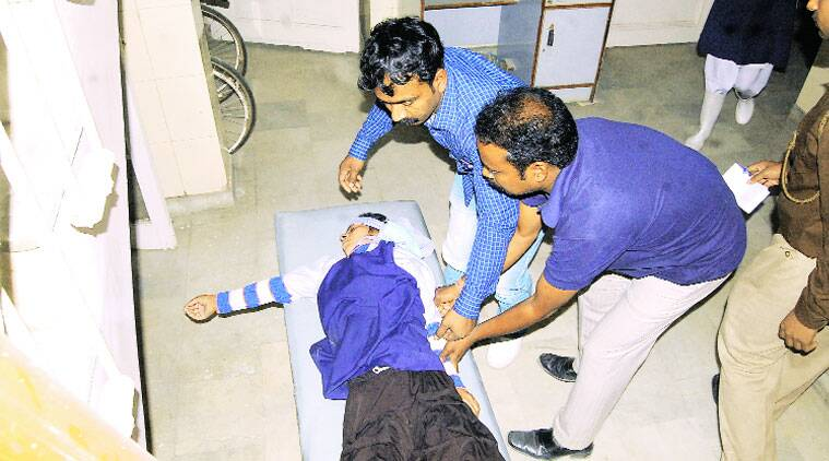 A worker from the meat factory (above) in Sahibabad industrial area, Ghaziabad, admitted to a hospital. (Source: Gajendra Yadav)