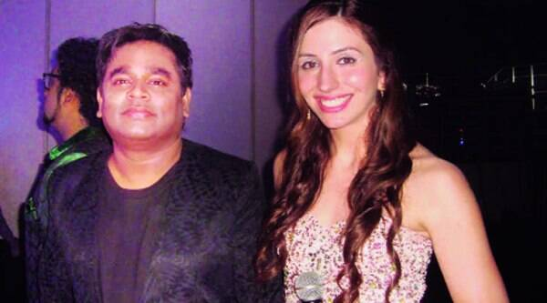 Natalie Diluccio and AR Rahman at the launch of I's music
