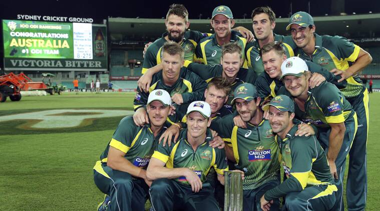 Australia's cricket team poses for a photo after winning their One Day International cricket series against South Africa (Source: AP)