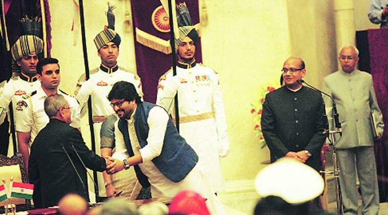 Babul Supriyo with President Pranab Mukherjee after taking oath.