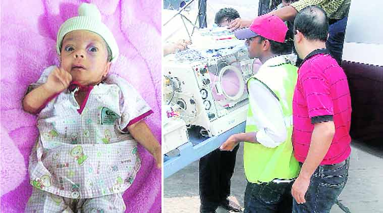 The 44-week child now weighs a normal 2.6 kg; (left) being brought to Delhi at 26 weeks.