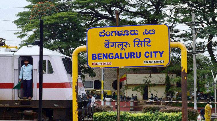 The signboard of Bengaluru City railway station on Saturday as Bangalore is now officially Bengaluru. (Source: PTI)
