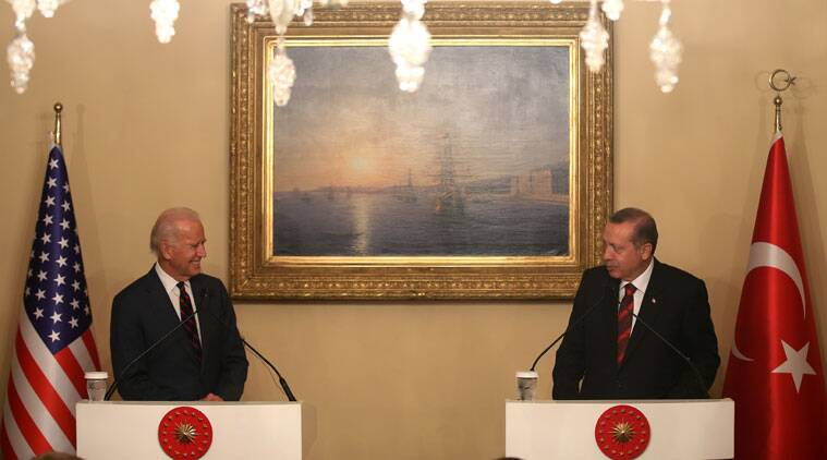 U.S. Vice President Joe Biden, left, and Turkish President Recep Tayyip Erdogan speak to the media during a joint news conference in Istanbul, Turkey, Saturday, Nov. 22, 2014. Biden on Friday became the latest in a parade of U.S. officials trying to push Turkey to step up its role in the international coalition's fight against Islamic State extremists. (Source: AP)
