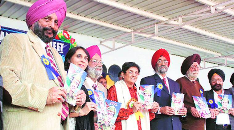 During the book launch at GGN Public School in Ludhiana on Thursday. (Source: Express photo by Gurmeet Singh)