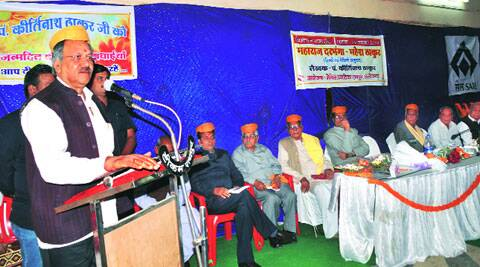 Minister Brijmohan speaks at the event, Saturday. (Source: Express photo)