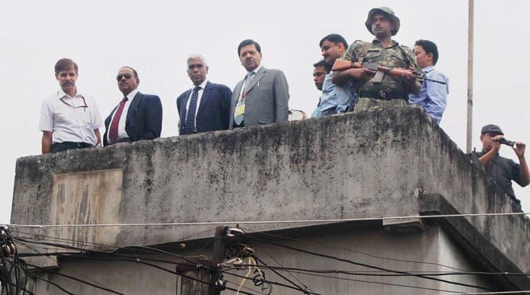National Security Adviser Ajit Doval accompanied by National Security Guard (NSG) Chief J N Choudhury, NIA Director General Sharad Kumar and Intelligence Bureau(IB) chief Asif Ibrahim inspecting the blast site at Khagragarh in Burdwan district. (Source: PTI)