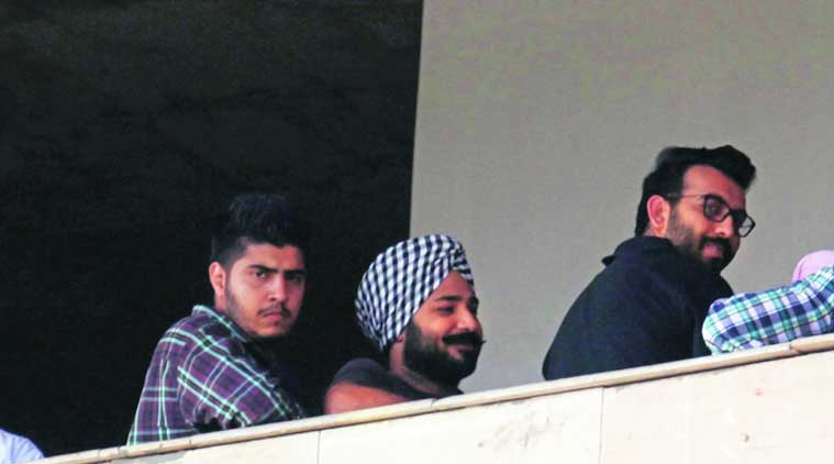 The accused in the firing incident at District Court in Sector 43, Chandigarh, on Saturday. (Source: Express photo by Jaipal Singh)