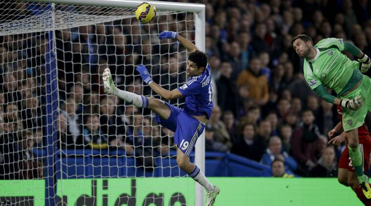 Costa impressively controlled with his chest and struck a right-footed volley past Ben Foster. (Source: AP)