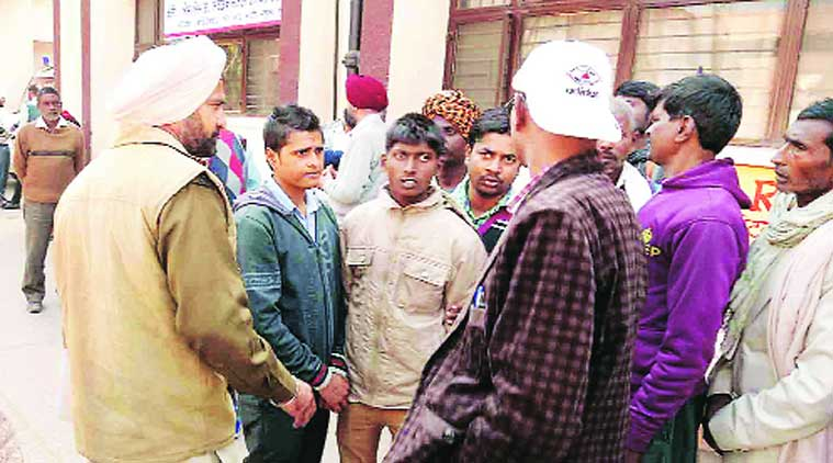 At Dera Bassi civil hospital on Friday (Source: Express photo by Harjeet Singh)