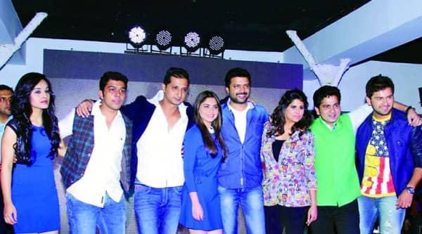 Aditya Sarpotdar, Pallavi Patil, Suyash Tilak, Sachit Patil, Sonalee Kulkarni, Ankush Choudhary,Sai Tamhankar,  Sushant Shelar and Siddharth Chandekar pose at the first look launchof Classmates