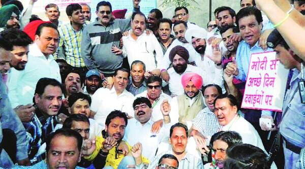 During the Congress protest in Ludhiana on Thursday.
