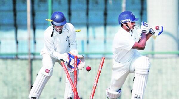 South Zone's Abhimanyu Mithun is cleaned up by Central's left-arm spinner Ali Murtaza (pictured below) on the final day of the Duleep Trophy final in Delhi. (Express photo by Ravi Kanojia)