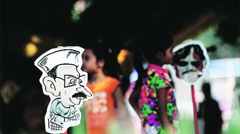 A cartoon of AAP chief Arvind Kejriwal at the Northeast festival on Monday.