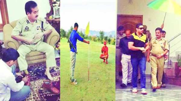 Instagram photographs posted by DIG Shakeel Beig's son. From left: A man helps the DIG put on his shoes; a securityman doubles up as a caddie for DIG's son; a man holds an umbrella for Beig.