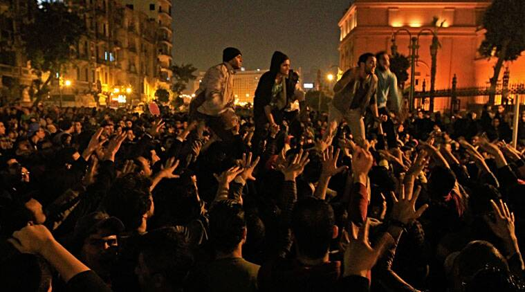 Egyptians gather near Tahrir Square to protest the verdict in the trial of ousted President Hosni Mubarak in Cairo, Egypt. (Source: AP photo)