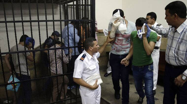 """An Egyptian court convicted eight men for """"inciting debauchery"""" after appearing in an alleged same-sex wedding."""