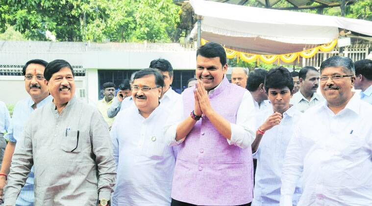 Devendra Fadnavis at the Maharashtra Assembly, on the first day of the new session, Monday.  (Source: Express photo by Pradeep Kochrekar)