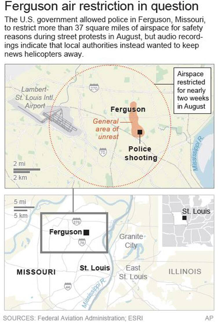 Map shows area of airspace over Ferguson, Missouri, that was restricted during street protests in August. (AP)